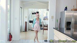 Blonde babysitter creamed