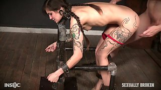 Sexy babe Luna Lovely is tied up and punished in the dark and cold basement