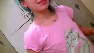 Cute Punk Playing With Herself Over The Toilet