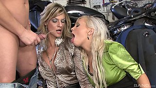 Eliss Fire and Klarisa Leone cannot resist a hunk's huge dick