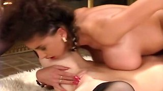 Gorgeous classic white milfs share a man for passionate threesome