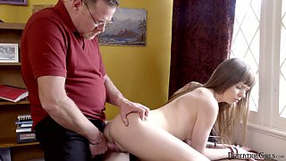 Lustful stepdaughter Alex Blake is fucked and punished by angry step dad