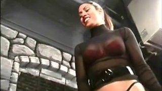 Harsh Mistress strap-on fucks sub