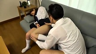 Cute Asian schoolgirl in uniform gets nailed by an older guy