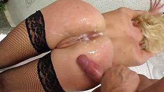Ass Traffic Bendy girl's ass treated to double fuck and jizz spray