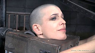 Bald babe has once again been naughty and needs to be punished