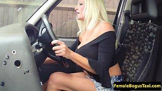 Bigtitted british cabbie riding black cock