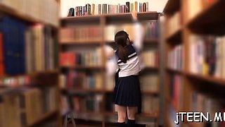 Japanese schoolgirl fingered and sucks schlong vigorously