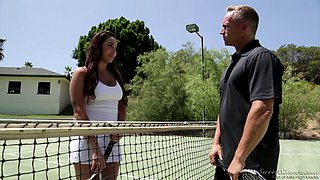 she pays for tennis lessons, but ends up getting a dicking