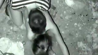 Drunk teen couple caught fucking
