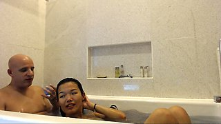 Asian sexy amateur teen in shower rubbing