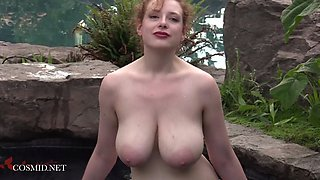 Perky redhead MILF with amazing milk cans teasing hard
