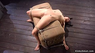 Flexible slut pussy vibrated in hogtie