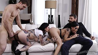 impetuous foursome on the white couch