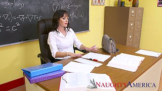 Perverted sexy teacher Alana Cruise spreads legs in front of her student