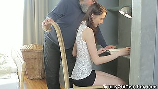 Cute Euro teen Alina is seduced by old bearded gentleman