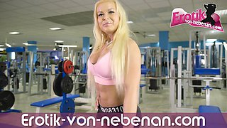 German muscle blonde hooker public anal POV in solarium after gym