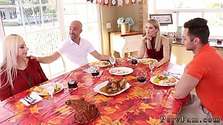 Step dad sleeps with mom and chum cronys daughter Spanksgiving With The Family