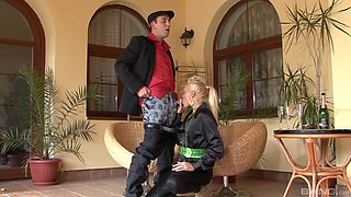 Eliss Fire and her dressed girlfriend open their legs for a dick