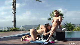 Smoking hot Tanya Tate and her friend masturbate with a long dildo