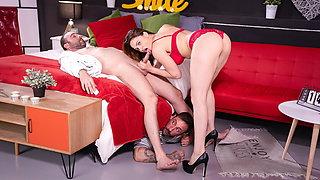 XXX SHADES - Busty redhead housewife cheats her husband