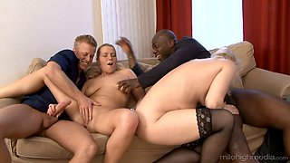Emma and Erin enjoy a great interracial group sex game