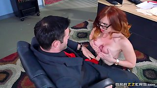dani jensen stroking her boss's rod with her new, enhanced tits