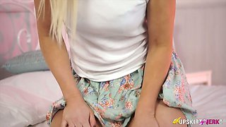 Charming blonde hussy Sky pulls her flower skirt up