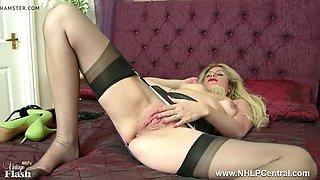 blonde slut pussy play in retro lingerie nylons high heels