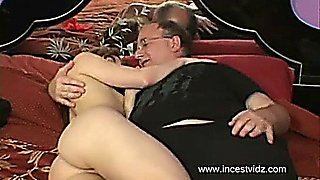 Old Dad Fucks his step Daughter on Bed