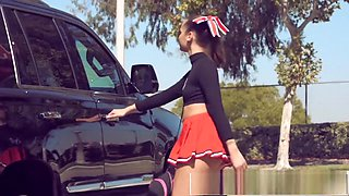 TEENFIDELITY Teen Cheerleader Liza Rowe Shakes Her Pom Poms for Daddy