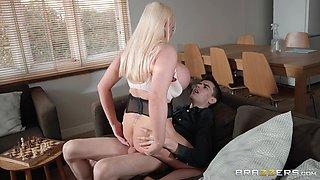 busty housewife next door rides dick