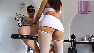 EBONY NURSE DOES ANAL ON EROTIC CHAIR