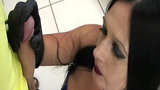 American Kitchen Blowjob Handjob - Fuck my Tits - Fuck my Mouth - Cum on my long leather gloves