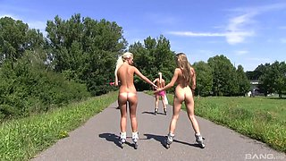 Sporty teens strip and have fun on the road in reality video