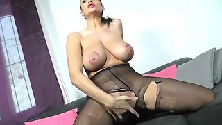 Pantyhose red bra tease and play yes!