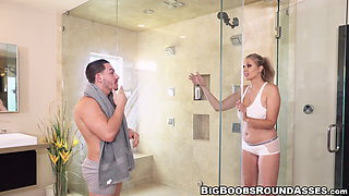 Curvy MILF with big hooters dicked in the shower by stud