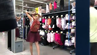 Amateur bottomless girlfriend pantsed in store
