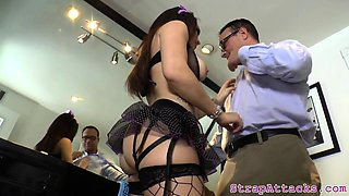 Busty dominatrix fingering her slaves ass