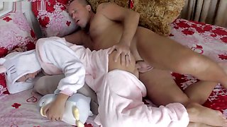 Stepfather fuck sleeping daughter in ass - anal creampie