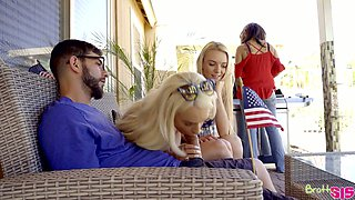 Svelte nice blond head Molly Mae shares one strong cock for FFM threesome