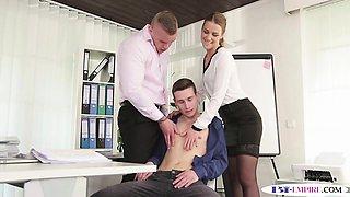 Bi threeway office stud  takes cum in mouth