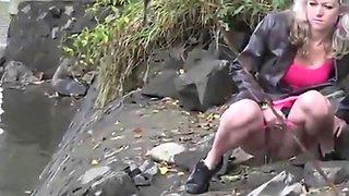 Outdoor girls pee compilation