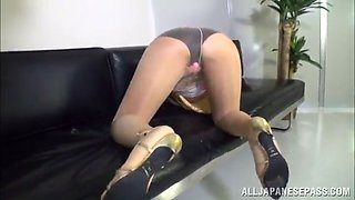 dainty asian solo model in a sexy pantyhose with a hot ass and long hair moaning as she masturbates