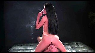 Mistress smoking brake on his face