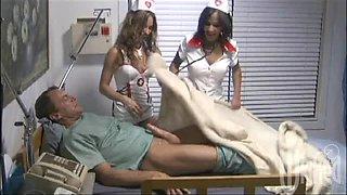 Kinky Nurses Giving A Sleeping Patient A Handjob