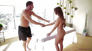 Cute August Ames rides a fat dick like there is no tomorrow