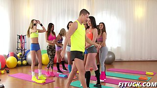 Girls threesome with gym instructor