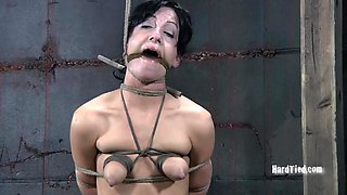Yells as sexy bondage diva big tits gets tied in BDSM shoot