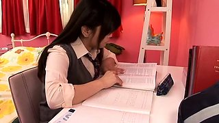 Schoolgirl gives a steaming handjob and oral-stimulation
